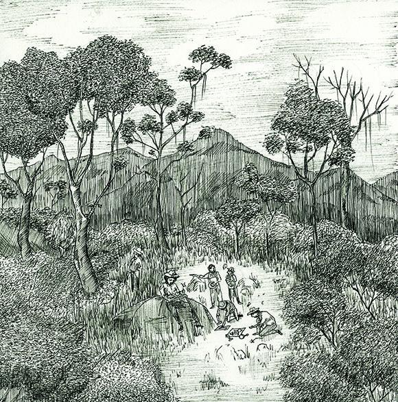 Campaña de Gaüer, grabado de Francisco Miranda Salamanca. 1855 - Andrés Díaz y Laura Otiz
