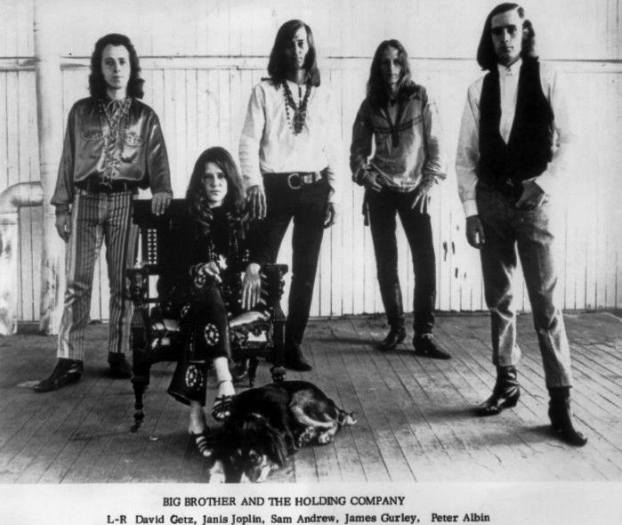 Publicity photo of Janis Joplin and Big Brother and the Holding Company.